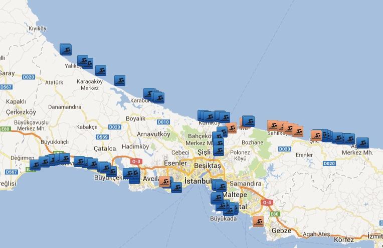 İstanbul Plajlar Haritasi
