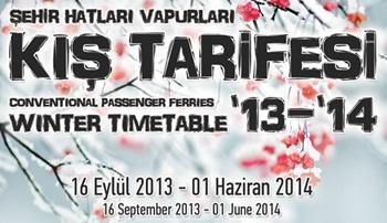 Adalar Vapurları 2013-2014 Kis Tarifesi